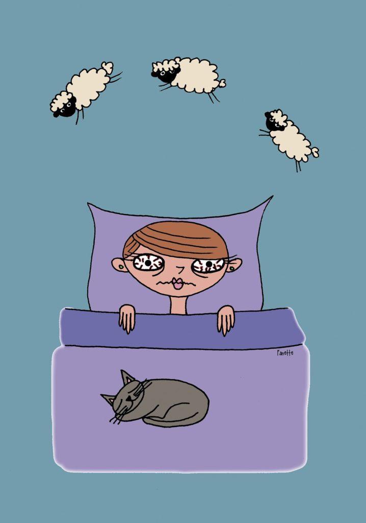 grafica di una ragazza a letto sveglia che conta le pecore